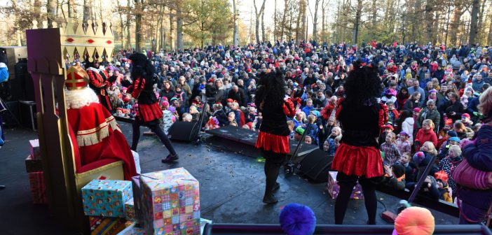 Sinterklaas en zwarte pieten feestelijk ontvangen in Leek (Foto's)
